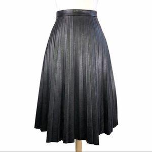 J. Crew Black Pleated Vegan Leather Skirt